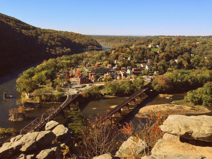 5 Fall Getaway Ideas: Harper's Ferry Overlook via From the Road I'm On